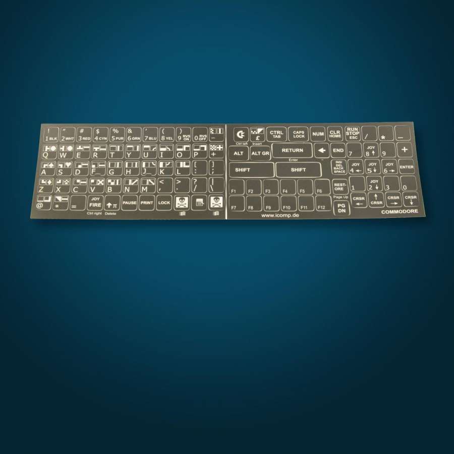 C64 keyboard sticker set black